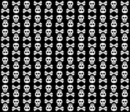 Black-And-White skulls background. Fun. Vector illustration. Vector