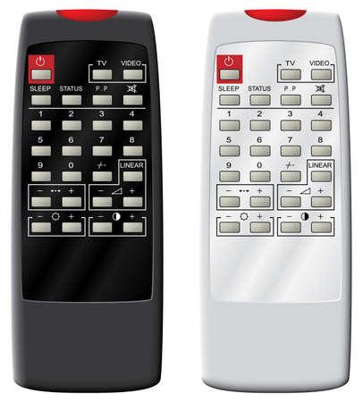 Télécommande du téléviseur. Illustration vectorielle. Isolé sur fond blanc.  Vecteurs