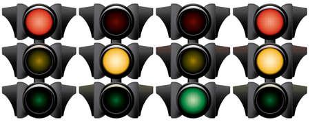Traffic-light. Variants. Vector illustration. Isolated on white background. Stock Vector - 3138785
