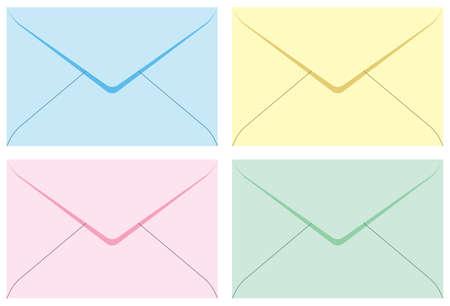 Colored set envelopes. Vector illustration. Isolated on white background. Illustration