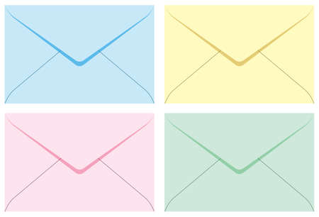 Colored set envelopes. Vector illustration. Isolated on white background. Vector