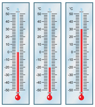 Thermometer. Instellen. Vector illustratie.