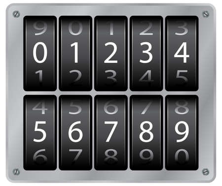 Mechanical counter. Digits set. Vector illustration. On metallic background. Vector