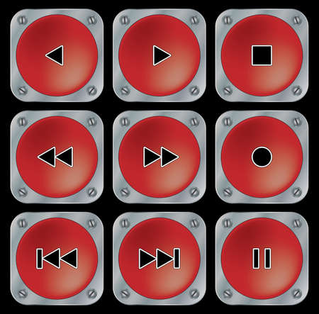 Red navigation buttons for multimedia. Set on black background. Vector illustration. Vector