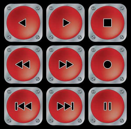 multimedia background: Red navigation buttons for multimedia. Set on black background. Vector illustration.