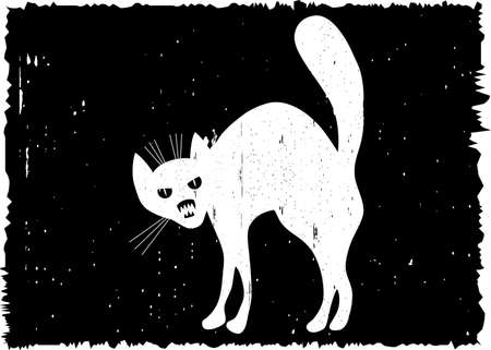 deathly: Very malicious cat. On grunge black background. Vector illustration.