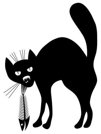 Cat and fish skeleton. Black and white contour. Vector illustration. Illustration