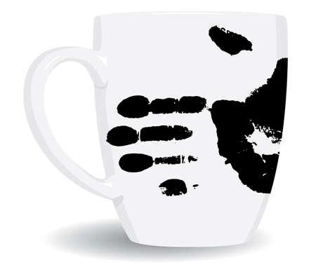 White mug is dirty. Vector illustration. Vector