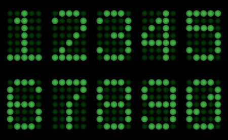 mnemonic: Green digits for matrix display. Vector illustration. On black background.