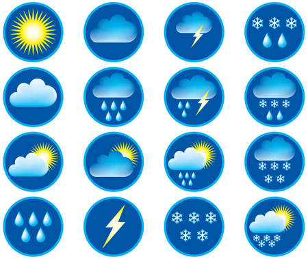 Symbols for the indication of weather. Vector illustration. Vector