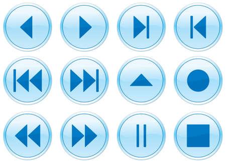 Multimedia navigation buttons set. Vector illustration. Stock Vector - 3430464
