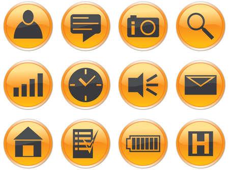 weather gauge: Gadget icons set. Orange - gray palette. Vector illustration. Illustration