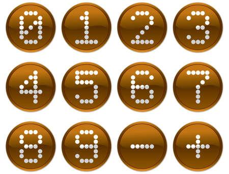 nulo: Matriz d�gitos iconos conjunto. Naranja oscuro y blanco, paleta. Ilustraci�n vectorial.