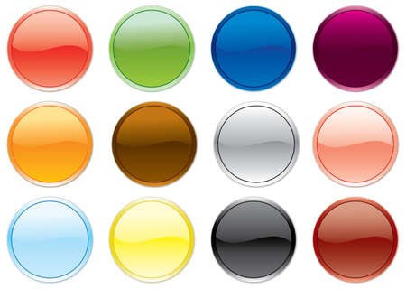 Free colored buttons set. Vector illustration. Stock Vector - 3439916