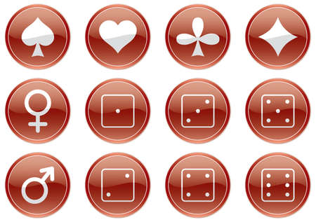Games icons set. Dark red-and-white palette. Vector illustration. Vector