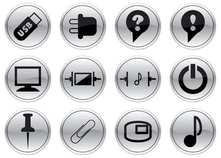 Gadget icons set. Black - gray palette. Vector illustration. Vector