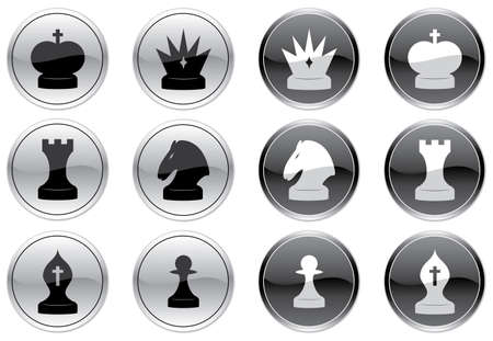 Chess icons set. Black-and-white palette. Vector illustration. Vector