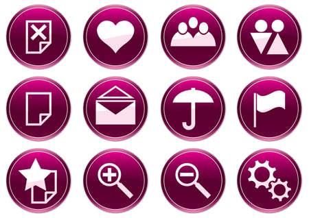 gadget: Gadget ensemble d'ic�nes. Purple - palette de blanc. Vector illustration.