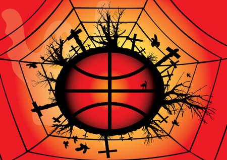 Red Global Halloween. Vector illustration. Vector