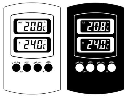 digital thermometer: Termometro elettronico. In bianco e nero variante. Isolato su sfondo bianco. Vector illustration.