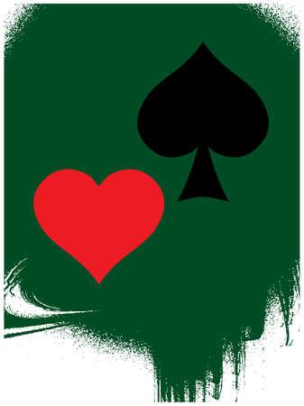 lasvegas: Game card symbol on grunge green background. Vector illustration.