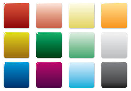 Free colored square buttons set. Vector illustration.