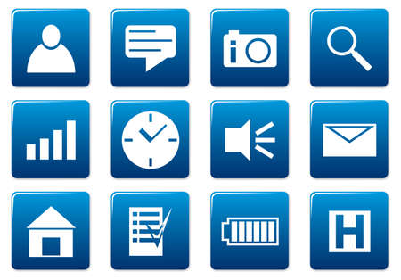 Gadget square icons set. Blue - white palette. Vector illustration. Stock Vector - 3497323