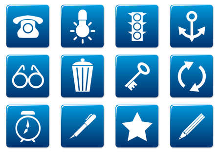 tell: Gadget square icons set. Blue - white palette. Vector illustration. Illustration