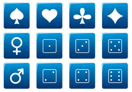Games square icons set. Blue - white palette. Vector illustration. Stock Vector - 3497326