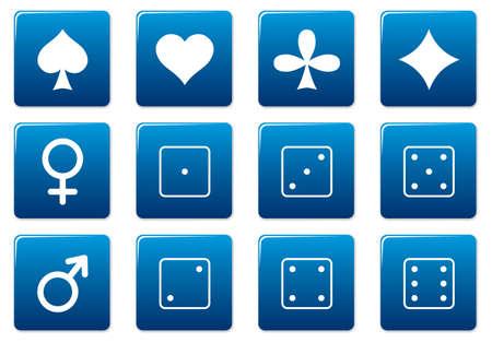 Games square icons set. Blue - white palette. Vector illustration. Stock Vector - 3497326