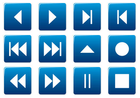 Media square icons set. Blue - white palette. Vector illustration. Stock Vector - 3497322