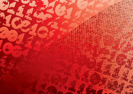 Abstract red background. Digits. Grunge. Vector illustration. Vector