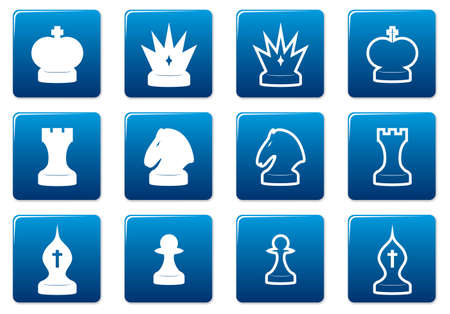 Chess square icons set. Blue - white palette. Vector illustration. Vector