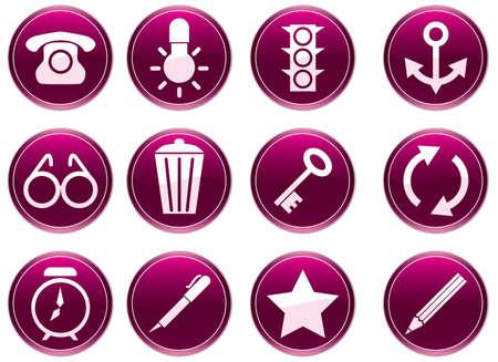 tell: Gadget icons set. Purple - white palette. Vector illustration.