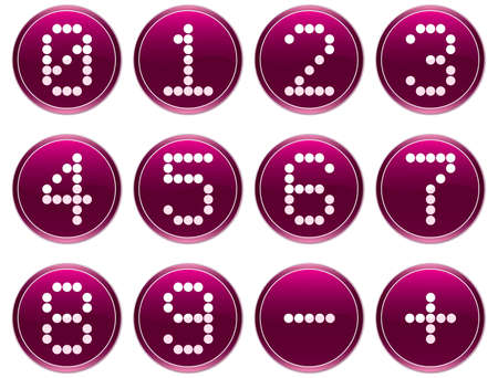 Matrix digits icons set. Purple - white palette. Vector illustration. Stock Vector - 3497358
