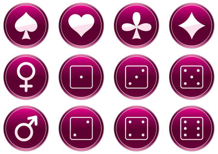 Games icons set. Purple - white palette. Vector illustration. Stock Vector - 3497357