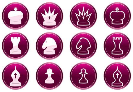 Chess icons set. Purple - white palette. Vector illustration.