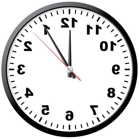 On the contrary clock. Abstract. Vector illustration. White background. Stock Vector - 3510145