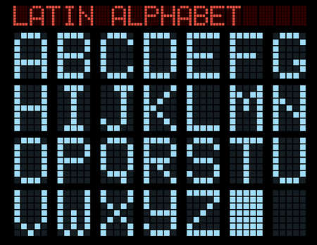 Latin alphabet. Blue matrix indicator. Vector illustration. Stock Vector - 3510165