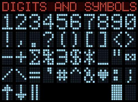 Symbols and digits. Blue matrix indicator. Vector illustration. Vector