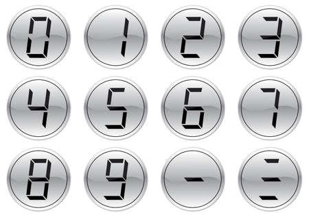 Liquid crystal digits icons set. Gray - black palette. Vector illustration. Vector