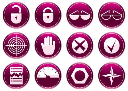 Gadget icons set. Purple - white palette. Vector illustration. Stock Vector - 3510156
