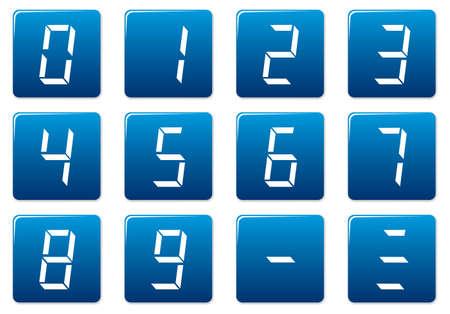 liquid crystal: D�gitos de cristal l�quido cuadrados iconos conjunto. Azul - blanco paleta. Ilustraci�n vectorial.  Vectores