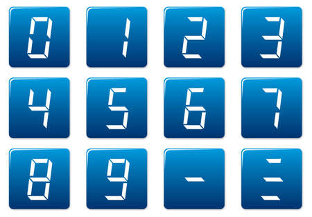 Liquid crystal digits square icons set. Blue - white palette. Vector illustration. Vector