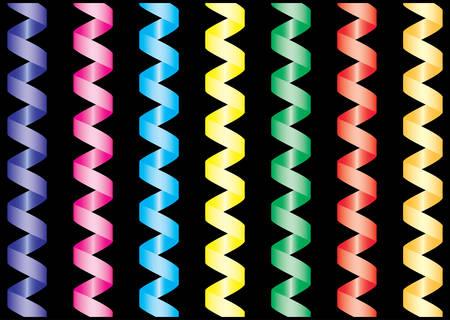 parade confetti: Documento de streamer. Multicolor conjunto sobre fondo negro. Ilustraci�n vectorial.