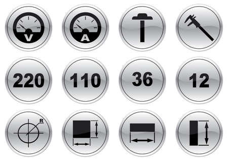 voltage gray: Gadget icons set. Gray - black palette. Vector illustration.