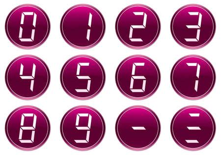 Liquid crystal digits icons set. Purple - white palette. Vector illustration. Vector