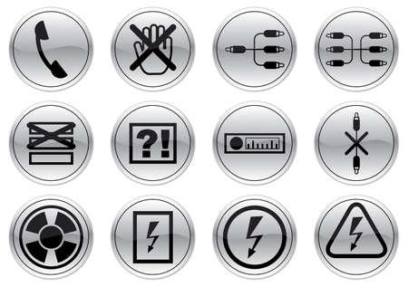 tell: Gadget icons set. Gray - black palette. Vector illustration.