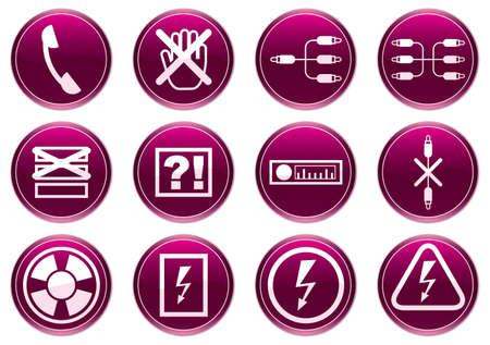 Gadget icons set. Purple - white palette. Vector illustration. Stock Vector - 3529225
