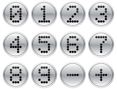 null: Matrix digits icons set. Gray - black palette. Vector illustration. Illustration